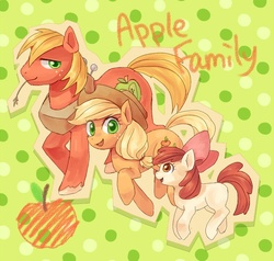 Size: 787x750   Tagged: safe, artist:hanada, apple bloom, applejack, big macintosh, earth pony, pony, abstract background, apple, apple family, applejack's hat, bow, brother and sister, cowboy hat, female, filly, food, freckles, hair bow, hat, looking at you, male, mare, open mouth, pixiv, smiling, stallion