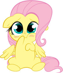 Size: 5000x5725 | Tagged: safe, artist:stepandy, fluttershy, :t, absurd resolution, blushing, chibi, cute, daaaaaaaaaaaw, diabetes, female, floppy ears, hnnng, looking at you, shyabetes, simple background, sitting, smiling, solo, spread wings, transparent background, vector