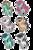 Size: 640x960 | Tagged: safe, artist:theosaur, oc, oc only, adoptable, magical lesbian spawn, offspring, parent:bon bon, parent:derpy hooves, parent:fluttershy, parent:lightning dust, parent:lyra heartstrings, parent:octavia melody, parent:pinkie pie, parent:rainbow dash, parent:rarity, parent:vinyl scratch, parents:derpypie, parents:flarity, parents:lyrabon, parents:rainbowdust, parents:scratchtavia, parents:twijack