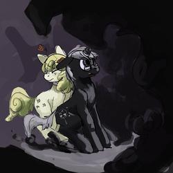 Size: 1280x1280 | Tagged: safe, artist:erijt, oc, oc only, oc:broken horn, oc:yellowstar, earth pony, pony, unicorn, broken horn, darkness, glasses