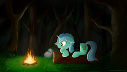 Size: 1920x1080 | Tagged: safe, artist:wolfypon, lyra heartstrings, pony, unicorn, fanfic:background pony, campfire, clothes, female, fire, floppy ears, hoodie, log, lying down, mare, night, shirt, solo, wallpaper