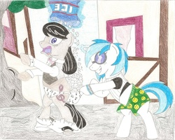 Size: 900x721   Tagged: safe, artist:wjmmovieman, dj pon-3, octavia melody, vinyl scratch, earth pony, pony, unicorn, assisted exposure, boxers, clothes, cold, female, humiliation, mare, music notes, panties, prank, revenge, smiley face, traditional art, underwear, wedgie