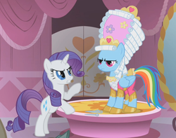 Size: 1141x899 | Tagged: safe, screencap, rainbow dash, rarity, pegasus, pony, unicorn, swarm of the century, angry, annoyed, female, mare, mare antoinette, marie antoinette, rainbow dash always dresses in style