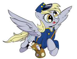 Size: 2500x1915 | Tagged: safe, artist:andypriceart, artist:kotanom, derpy hooves, pegasus, pony, bag, clothes, female, flying, hat, mail, mailbag, mailmare, mailpony, mare, simple background, solo, tongue out, transparent background, uniform, vector