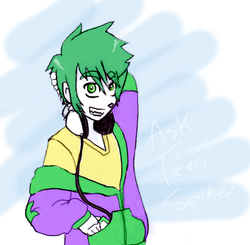 Size: 525x514 | Tagged: safe, artist:equestrian-strumpet, spike, clothes, headphones, hoodie, humanized, solo, teenage spike