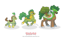 Size: 1280x774 | Tagged: safe, artist:almairis, grotle, plant pony, torterra, turtwig, evolution chart, pokémon, ponified, ponymon, simple background, transparent background, tree