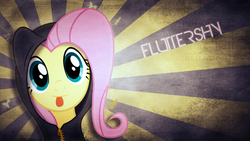 Size: 1920x1080 | Tagged: safe, artist:justaninnocentpony, fluttershy, clothes, hoodie, solo, vector, wallpaper