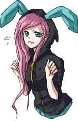 Size: 230x358 | Tagged: safe, artist:chiyoneun, fluttershy, bunny ears, clothes, dangerous mission outfit, female, hoodie, humanized, simple background, solo, transparent background