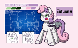 Size: 1280x800 | Tagged: safe, artist:scramjet747, sweetie belle, pony, robot, robot pony, unicorn, concept art, eyes closed, female, filly, foal, gun, hooves, horn, open mouth, smiling, solo, sweetie bot, teeth, text, weapon