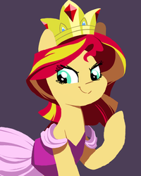 Size: 1024x1280 | Tagged: safe, artist:karzahnii, sunset shimmer, pony, unicorn, clothes, crown, dress, female, hooves, jewelry, lineless, mare, ponified, regalia, simple background, smiling, solo