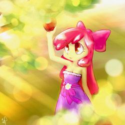 Size: 500x500 | Tagged: safe, artist:ifthemainecoon, apple bloom, equestria girls, apple, armpits, breasts, cleavage, clothes, dress, fall formal outfits, humanized, strapless, strapless dress