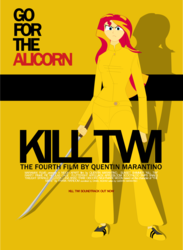 Size: 1023x1400   Tagged: safe, artist:aaronmk, sunset shimmer, twilight sparkle, equestria girls, humanized, katana, kill bill, movie, poster, sword, weapon