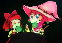 Size: 1280x898 | Tagged: safe, artist:lyricalecho, apple bloom, pinkie pie, friendship is witchcraft, cauldron, costume, humanized, witch