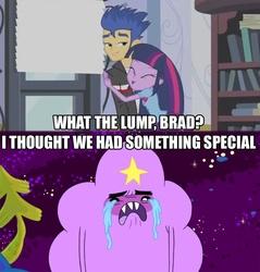 Size: 800x838   Tagged: safe, edit, edited screencap, screencap, flash sentry, twilight sparkle, equestria girls, equestria girls (movie), adventure time, brad, crying, lumpy space princess, luna's office, trouble in lumpy space