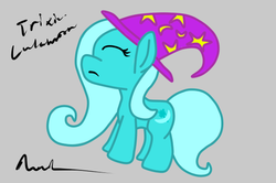 Size: 625x416 | Tagged: safe, artist:nav3ta, trixie, pony, unicorn, clothes, female, gray background, hat, mare, signature, simple background, solo, trixie's hat