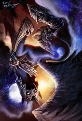 Size: 477x700 | Tagged: safe, artist:ziom05, nightmare moon, nightmare dupe, upside down