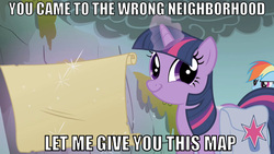 Size: 731x411 | Tagged: safe, edit, edited screencap, screencap, rainbow dash, twilight sparkle, dragonshy, duo, image macro, looking at you, map, twiface, wrong neighborhood
