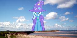 Size: 1000x493 | Tagged: safe, trixie, pony, unicorn, angry, beach, canada, female, giant pony, giantess, highrise ponies, macro, mare, prince edward island, solo
