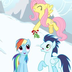 Size: 1024x1024 | Tagged: dead source, safe, artist:gizemyorganci, fluttershy, rainbow dash, soarin', blushing, female, male, mistletoe, now kiss, shipper on deck, shipping, snow, soarindash, straight, vector, winter