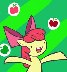 Size: 1200x1300 | Tagged: safe, artist:cyberfire22, apple bloom, :d, apple, dot eyes, female, happy, solo