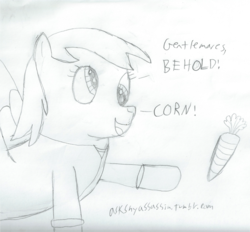 Size: 1808x1680 | Tagged: safe, artist:2shyshy, derpy hooves, pegasus, pony, 30 minute art challenge, aqua teen hunger force, carrot, doctor weird, female, mare, parody, traditional art