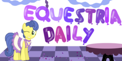 Size: 1000x500   Tagged: safe, artist:punksweet, masquerade, equestria daily, balloon, banner, confetti