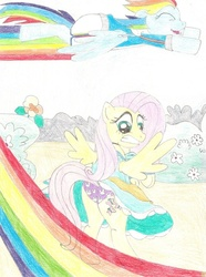 Size: 771x1037   Tagged: safe, artist:wjmmovieman, fluttershy, rainbow dash, pegasus, pony, assisted exposure, bunny print underwear, clothes, dress, embarrassed, embarrassed underwear exposure, female, humiliation, panties, prank, purple underwear, silly panties, skirt, skirt flip, traditional art, underwear, upskirt, we don't normally wear clothes