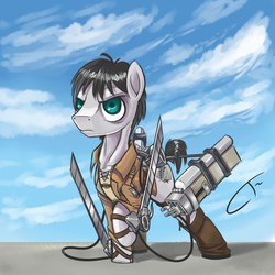 Size: 1024x1024   Tagged: safe, artist:cybertoaster, 3d maneuver gear, anime, attack on titan, eren jaeger, parody, ponified