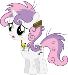 Size: 1024x1121 | Tagged: artist needed, safe, sweetie belle, chris chan, simple background, solo, sonichu, transparent background, vector, wat, why