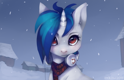 Size: 1600x1035 | Tagged: safe, artist:imalou, dj pon-3, vinyl scratch, clothes, headphones, looking at you, missing accessory, scarf, snow, snowfall, solo