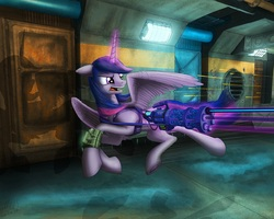 Size: 1280x1024 | Tagged: safe, artist:lucky dragoness, oc, oc only, oc:radiant star, alicorn, pony, fallout equestria, fallout equestria: starlight, alicorn oc, gun, minigun, not twilight sparkle