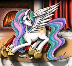 Size: 1200x1100 | Tagged: safe, artist:nalesia, princess celestia, bedroom eyes, crown, eyeshadow, feather, fireplace, looking at you, pillow, preening, prone, smiling, solo, spread wings