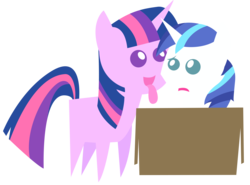 Size: 10000x7408 | Tagged: safe, artist:shadowdashie, shining armor, twilight sparkle, pony, friendship is witchcraft, absurd resolution, box, colt, eyes on the prize, female, filly, francis sparkle, frown, incest, licking, male, not creepy, not incest, open mouth, pointy ponies, pony in a box, raised eyebrow, shiningsparkle, shipping, simple background, smiling, straight, tongue out, transparent background, vector, worried