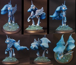 Size: 1044x885 | Tagged: safe, artist:githgulcag, princess luna, figurine, gaming miniature, miniature, raised hoof, sculpture, solo