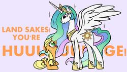 Size: 1181x671 | Tagged: safe, artist:redapropos, applejack, princess celestia, cute, female, filly, filly applejack, honesty, size difference, younger
