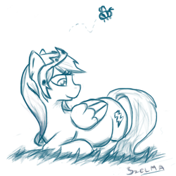 Size: 500x500 | Tagged: safe, artist:malaszelma, firefly, bee, 30 minute art challenge, g1, g1 to g4, generation leap, pregnant