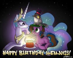Size: 1100x880 | Tagged: safe, artist:johnjoseco, princess celestia, oc, oc:gem, birthday, cake, memj0123