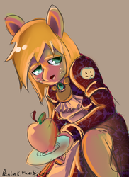 Size: 800x1100 | Tagged: safe, artist:penlink, big macintosh, anthro, apple, clothes, female, maid, rule 63, solo