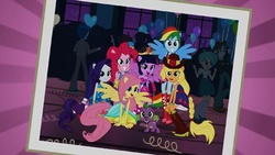 Size: 400x225 | Tagged: applejack, background human, equestria girls, equestria girls (movie), fluttershy, mane seven, mane six, official, pinkie pie, ponied up, rainbow dash, rarity, safe, spike, twilight sparkle, winged humanization