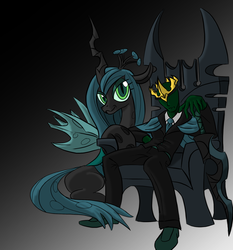 Size: 1739x1869 | Tagged: safe, artist:sawhorse, queen chrysalis, oc, oc:anon, clothes, crown, necktie, pants, shirt, shoes, simple background, smirk, suit, sword, throne