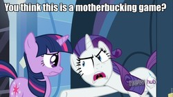 Size: 960x540 | Tagged: safe, rarity, twilight sparkle, image macro, you think this is a motherfucking game