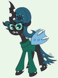 Size: 1860x2502   Tagged: dead source, safe, artist:jay muniz, queen chrysalis, changeling, changeling queen, alternate hairstyle, braces, clothes, dork, dorkalis, female, glasses, nerd, solo, sweater