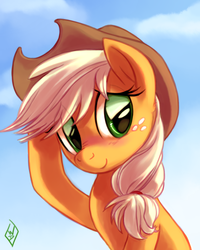 Size: 800x1000 | Tagged: applejack, artist:whitediamonds, blushing, bust, cute, earth pony, featured image, freckles, jackabetes, looking away, pony, safe, shy, sitting, smiling, solo, sweet dreams fuel