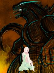 Size: 448x599 | Tagged: safe, fluttershy, human, kaiju, crossover, fanfic cover, godzilla, godzilla (series), humanized, shadows of giants