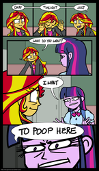 Size: 1021x1766 | Tagged: safe, artist:zicygomar, sunset shimmer, twilight sparkle, equestria girls, equestria girls (movie), comic, dialogue, eye clipping through hair, parody, the most popular girls in school, toilet humor, wat