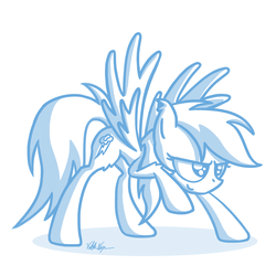 Size: 3000x3000 | Tagged: safe, artist:viktornewman, rainbow dash, pegasus, pony, female, mare, simple background, smiling, solo