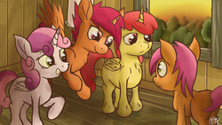 Size: 2418x1362 | Tagged: alicorn, alicornified, apple bloom, artist:mostlyponyart, babs seed, bloomicorn, chest fluff, cutie mark crusaders, dead source, frown, grin, pony, race swap, safe, scared, scootacorn, scootaloo, smiling, sweetie belle, sweetiecorn, this will end in tears and/or death and/or covered in tree sap, unshorn fetlocks, xk-class end-of-the-world scenario