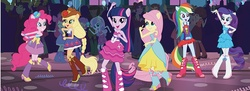 Size: 929x337 | Tagged: apple bloom, applejack, background human, batusi, boots, cutie mark crusaders, equestria girls, equestria girls (movie), fall formal, fall formal outfits, fluttershy, high heel boots, humane five, humane six, mane six, official, pinkie pie, ponied up, rainbow dash, rarity, safe, scootaloo, scott green, scribble dee, sophisticata, sweetie belle, sweet leaf, teddy t. touchdown, twilight sparkle