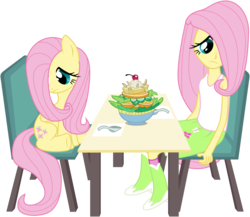 Size: 6000x5215 | Tagged: absurd res, artist:masem, awkward, equestria girls, fluttershy, herbivore, human ponidox, safe, salad, shy, simple background, square crossover, table, transparent background, vector