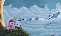 Size: 4500x2700 | Tagged: safe, artist:auroriia, pinkie pie, bird, beret, canvas, cloud, cloudy, mountain, painting, scenery, sky